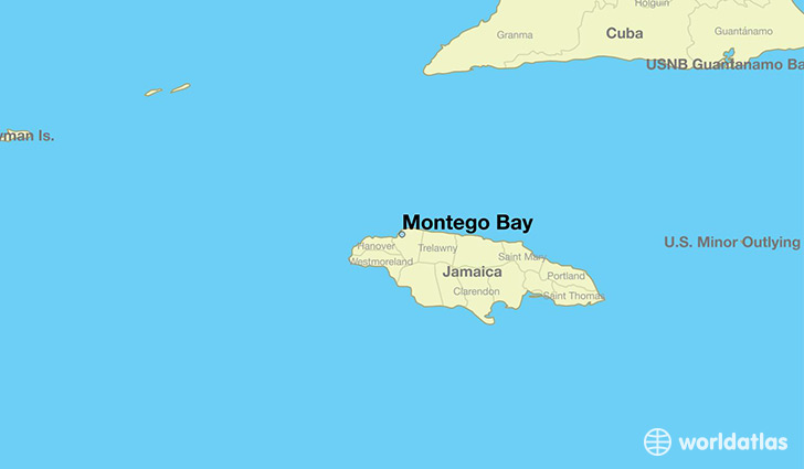 map showing the location of Montego Bay