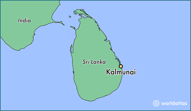 map showing the location of Kalmunai
