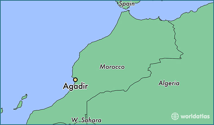map showing the location of Agadir