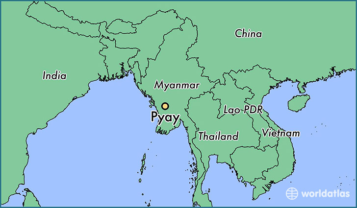 map showing the location of Pyay