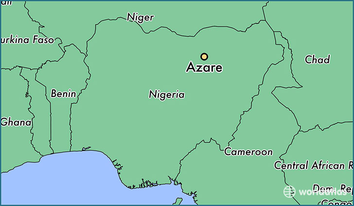map showing the location of Azare