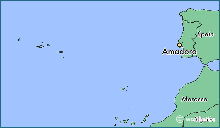 map showing the location of Amadora