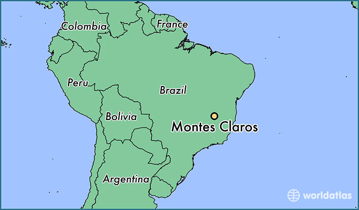 map showing the location of Montes Claros