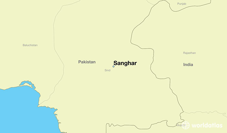 map showing the location of Sanghar