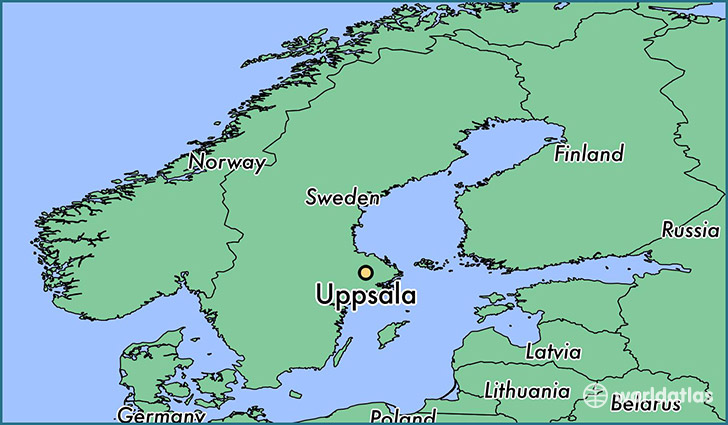 map showing the location of Uppsala
