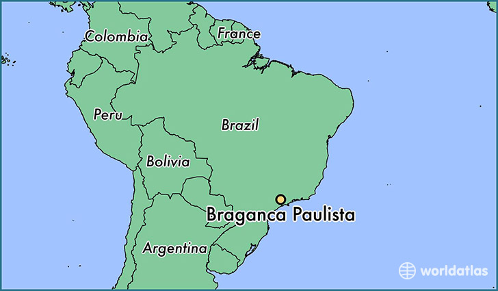 map showing the location of Braganca Paulista