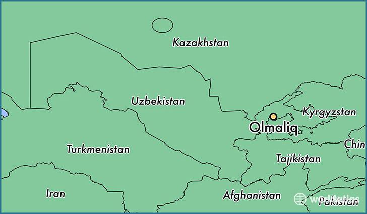 map showing the location of Olmaliq