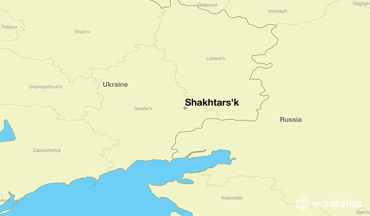 map showing the location of Shakhtars'k
