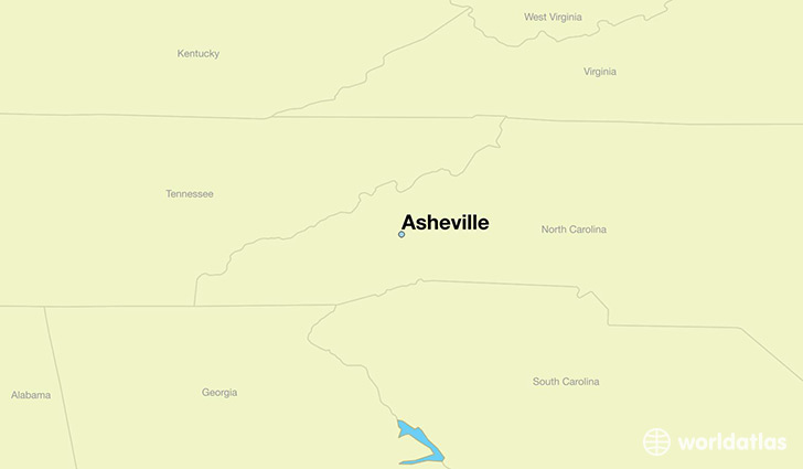 map showing the location of Asheville