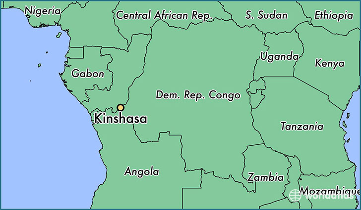 map showing the location of Kinshasa