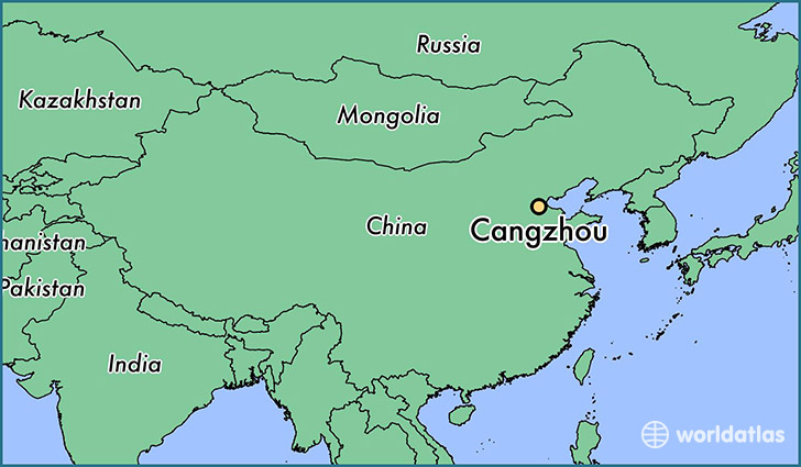map showing the location of Cangzhou