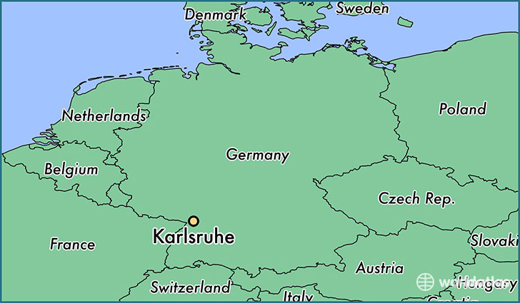 map showing the location of Karlsruhe