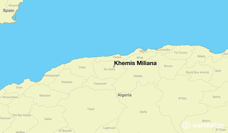 map showing the location of Khemis Miliana
