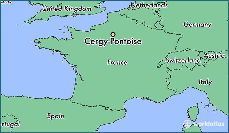 map showing the location of Cergy-Pontoise