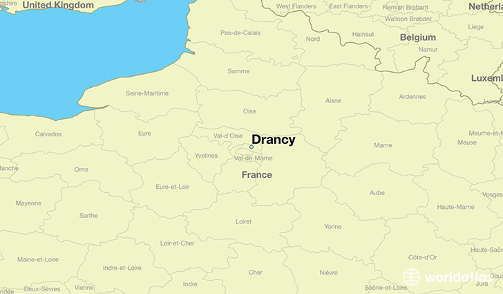 map showing the location of Drancy