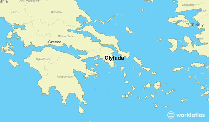 map showing the location of Glyfada
