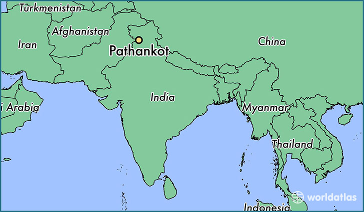 map showing the location of Pathankot