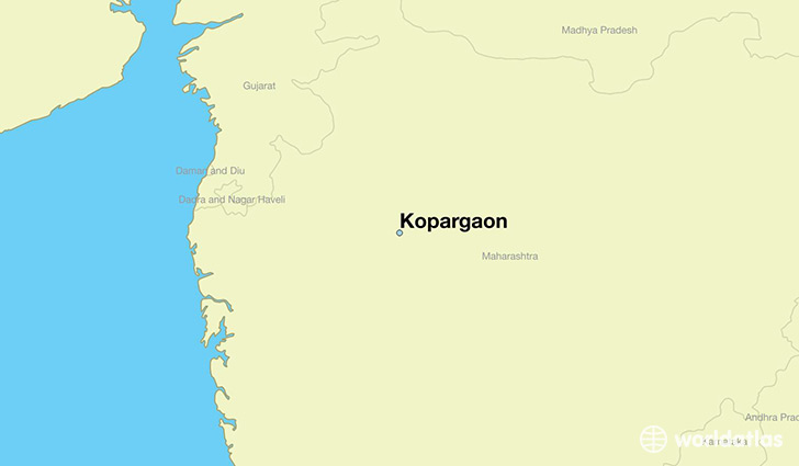 map showing the location of Kopargaon