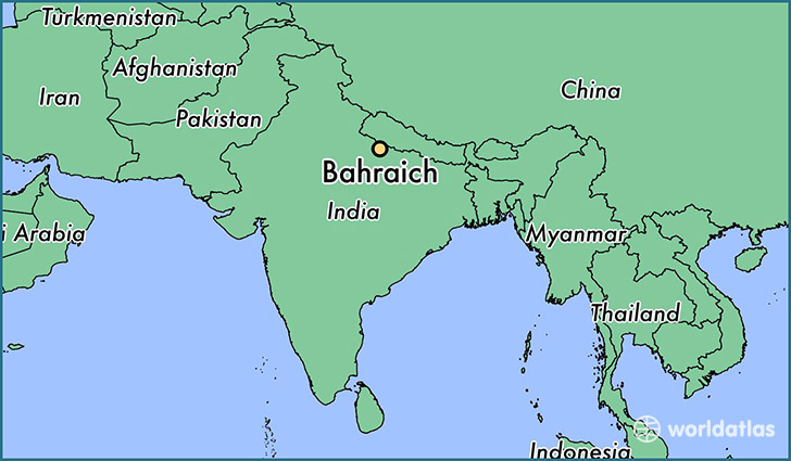 map showing the location of Bahraich