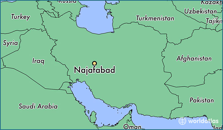map showing the location of Najafabad