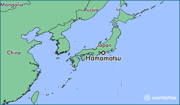 map showing the location of Hamamatsu