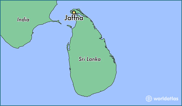 map showing the location of Jaffna