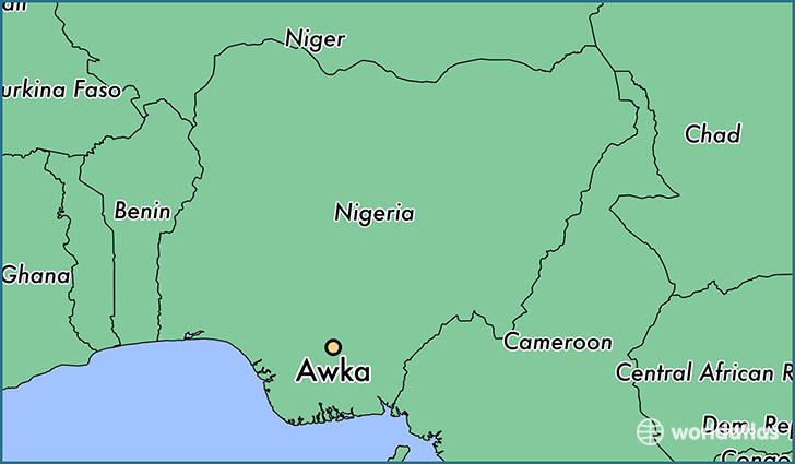 map showing the location of Awka