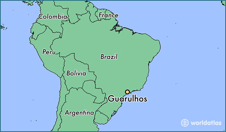 map showing the location of Guarulhos