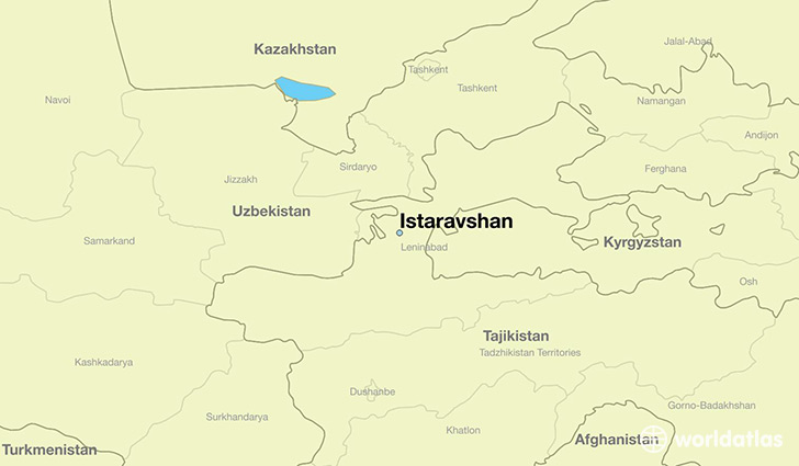 map showing the location of Istaravshan