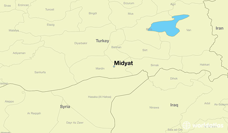 map showing the location of Midyat