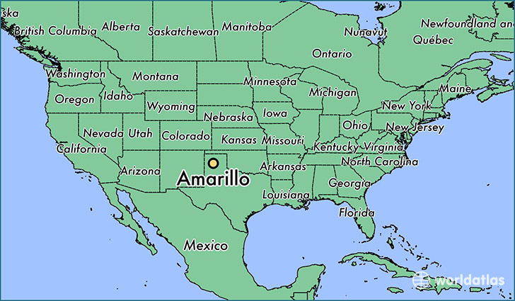 map showing the location of Amarillo
