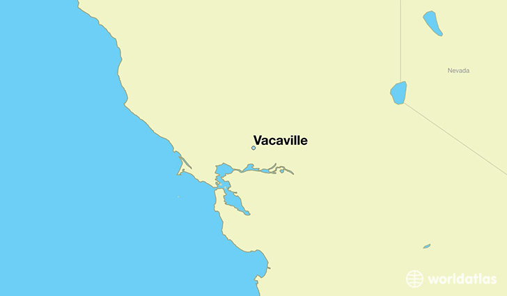 map showing the location of Vacaville