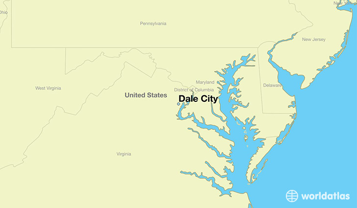 map showing the location of Dale City
