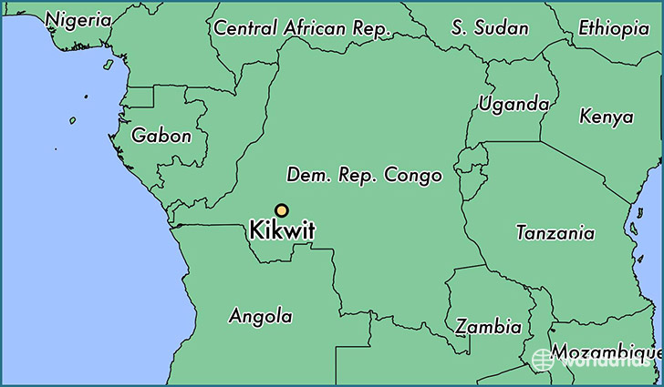 map showing the location of Kikwit