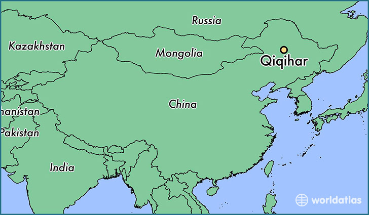 map showing the location of Qiqihar