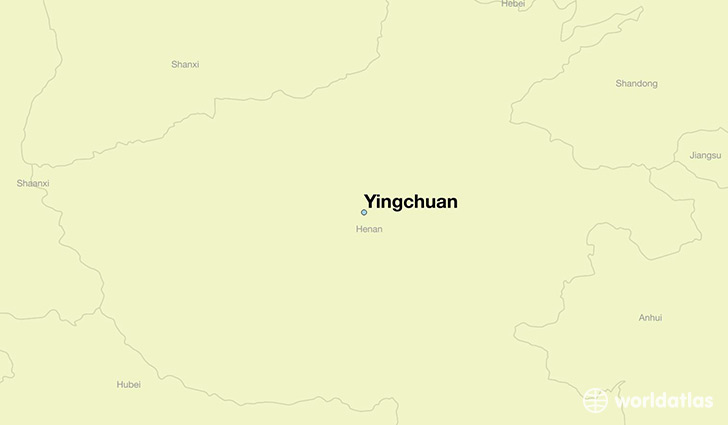 map showing the location of Yingchuan