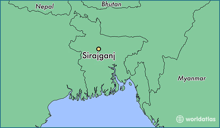 map showing the location of Sirajganj