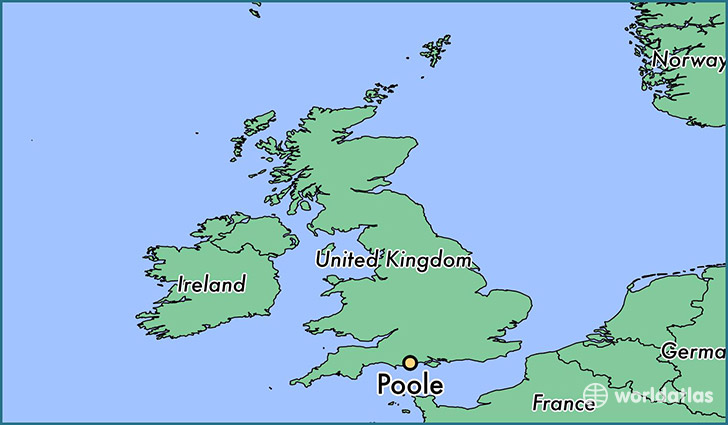 map showing the location of Poole