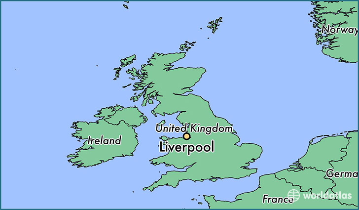 map showing the location of Liverpool