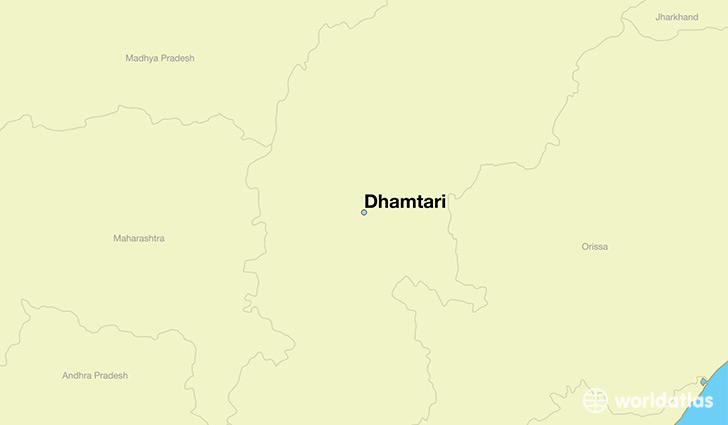 map showing the location of Dhamtari