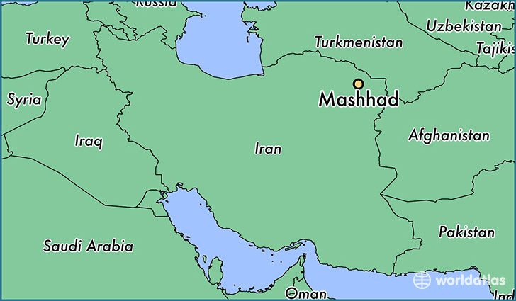 map showing the location of Mashhad