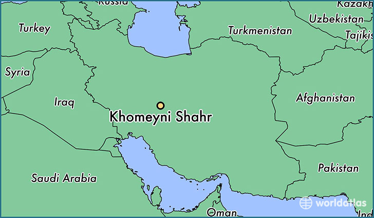 map showing the location of Khomeyni Shahr
