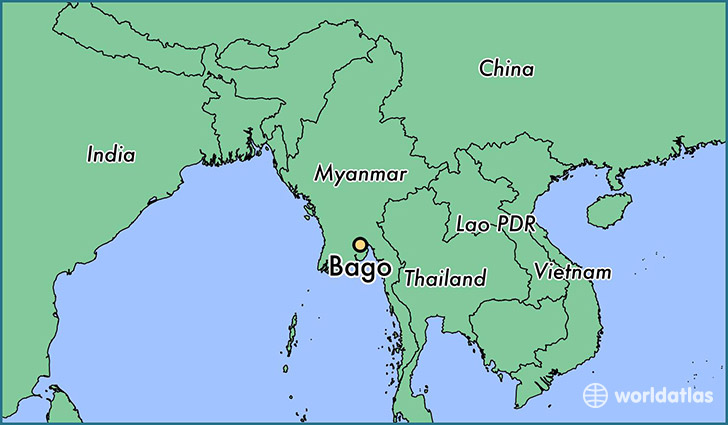 map showing the location of Bago