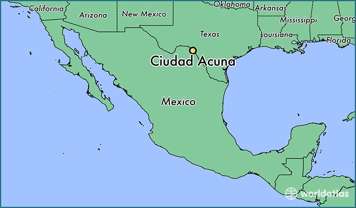 map showing the location of Ciudad Acuna