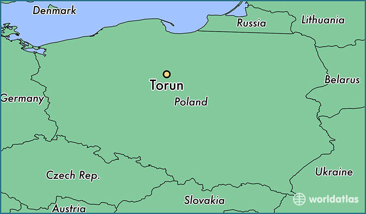 map showing the location of Torun