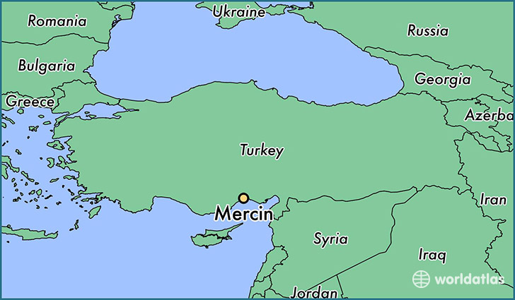 map showing the location of Mercin