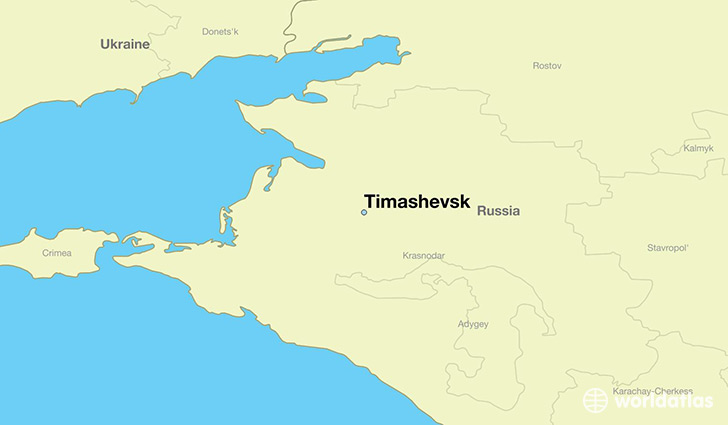 map showing the location of Timashevsk