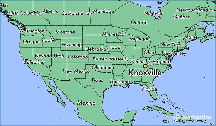 map showing the location of Knoxville