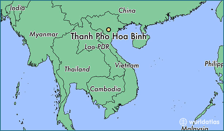 map showing the location of Thanh Pho Hoa Binh