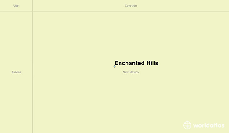 map showing the location of Enchanted Hills